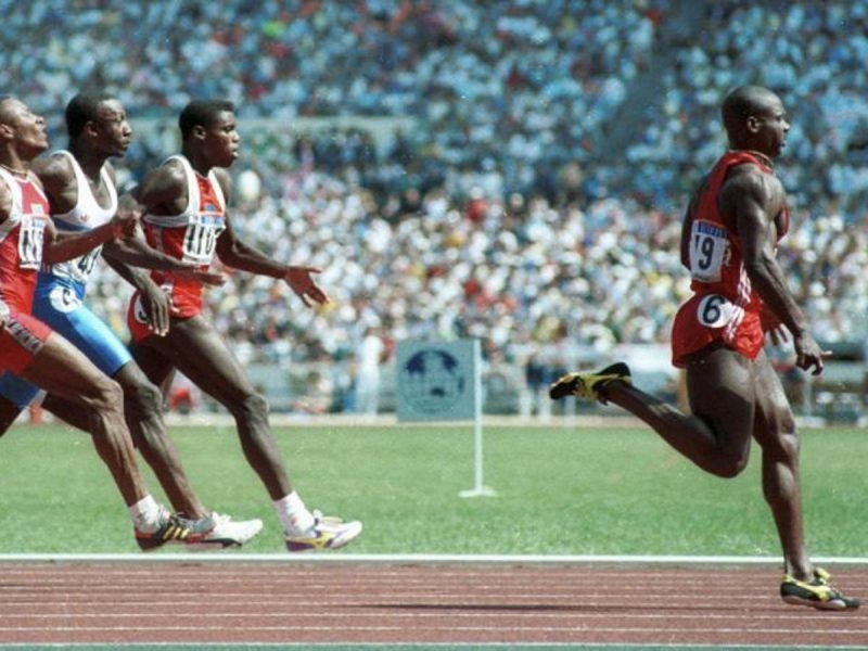 Ben johnson wins the 100m final at Seoul Olympics before his positive drug test