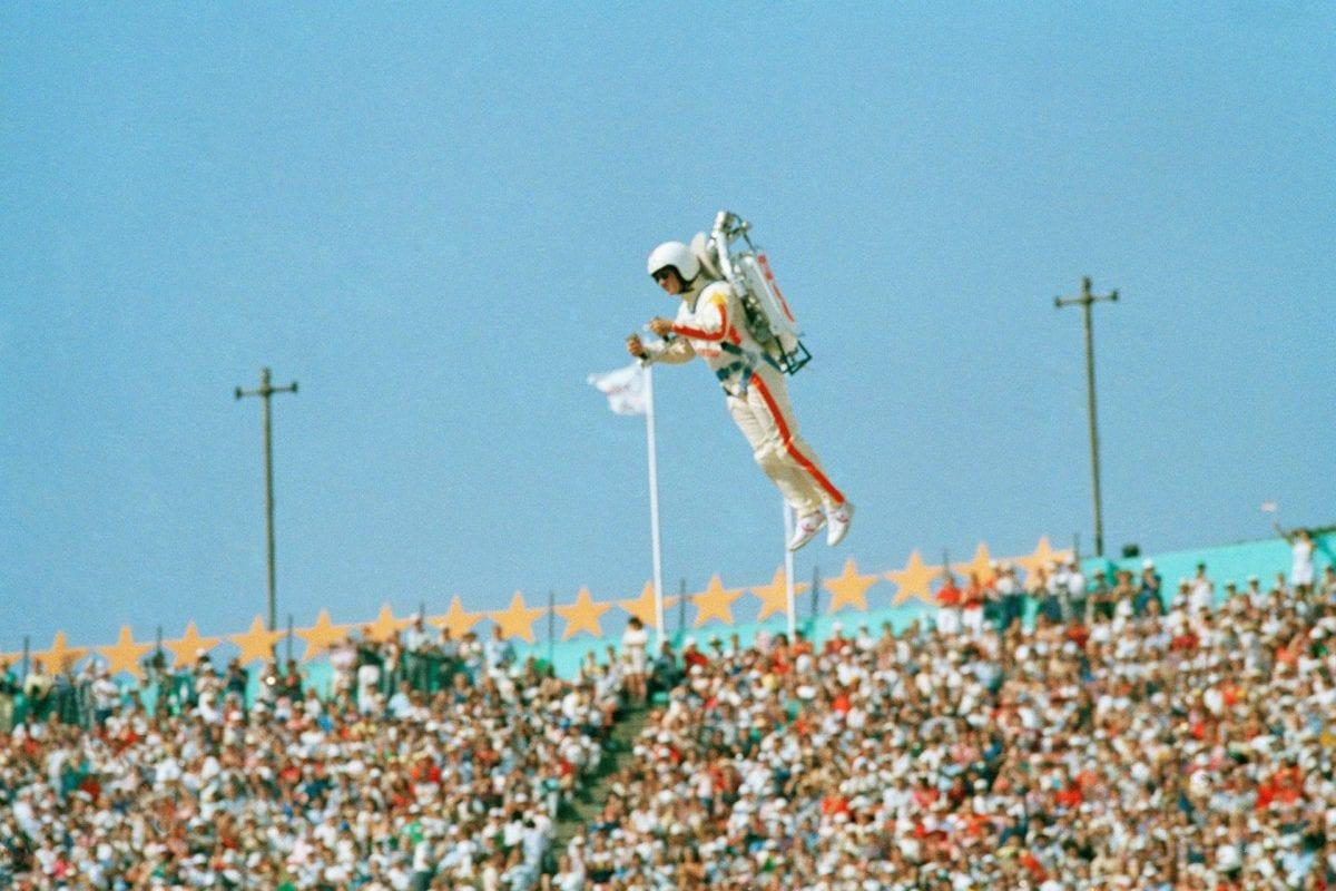 Jet pack man opens LA Olympics